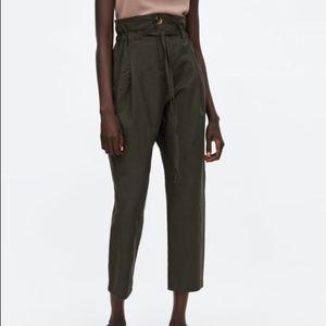 Zara Linen Blend High Waist Paper Bag Pants